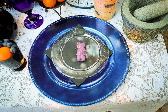 Blue coaster place setting from a Witches' Brew Halloween Tea Party on Kara's Party Ideas | KarasPartyIdeas.com (4)