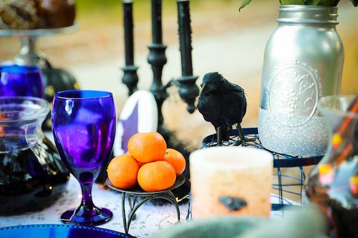 Table decor from a Witches' Brew Halloween Tea Party on Kara's Party Ideas | KarasPartyIdeas.com (22)