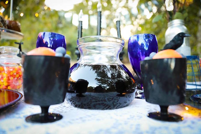 Guest table from a Witches' Brew Halloween Tea Party on Kara's Party Ideas | KarasPartyIdeas.com (18)