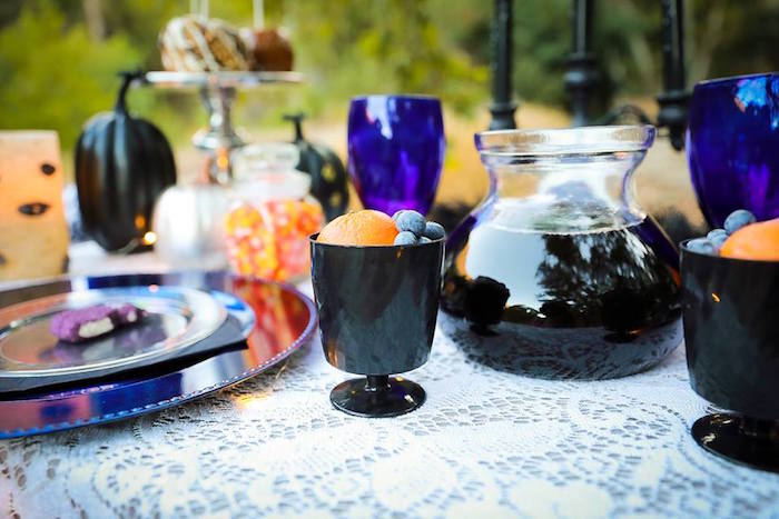 Guest table from a Witches' Brew Halloween Tea Party on Kara's Party Ideas | KarasPartyIdeas.com (17)