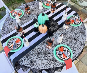 Spiderweb tablecloth from a Wickedly Sweet Halloween Costume Party on Kara's Party Ideas | KarasPartyIdeas.com (16)