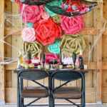 DIY Spooky Lace Parasols from a Floral Halloween Dinner Party via Mandy's Party Ideas