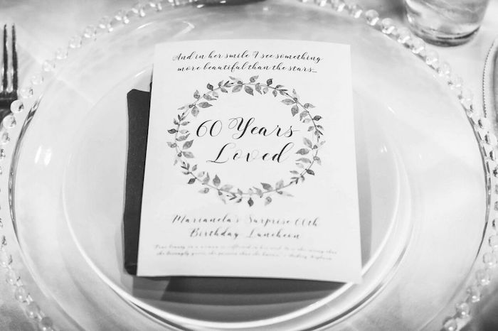 "Place setting signage from a ""60 Years Loved"" Birthday Dinner Party on Kara's Party Ideas 
