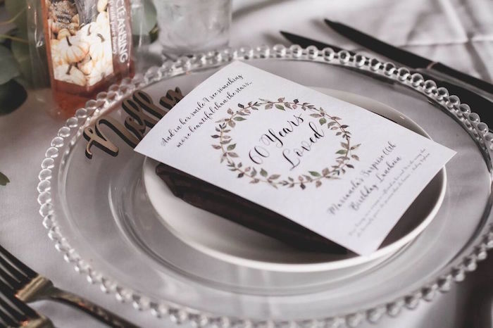 "Place setting from a ""60 Years Loved"" Birthday Dinner Party on Kara's Party Ideas 