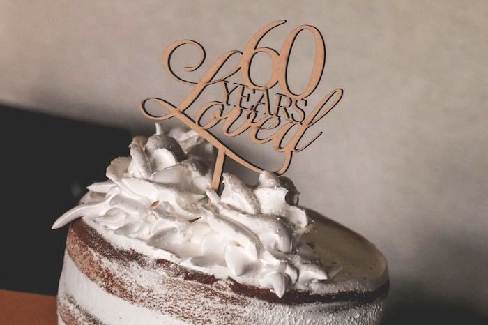 """Custom wood scrip cake topper from a """"60 Years Loved"""" Birthday Dinner Party on Kara's Party Ideas 