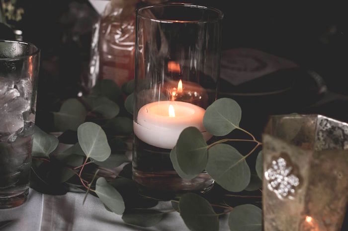 "Candle centerpiece from a ""60 Years Loved"" Birthday Dinner Party on Kara's Party Ideas 