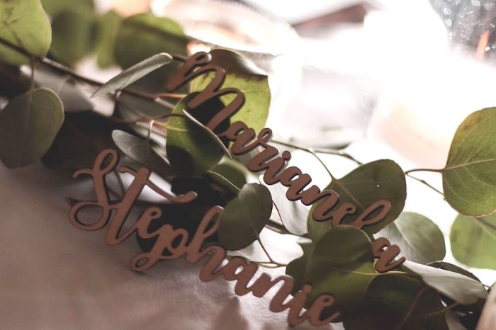 "Personalized wooden names for place settings from a ""60 Years Loved"" Birthday Dinner Party on Kara's Party Ideas 