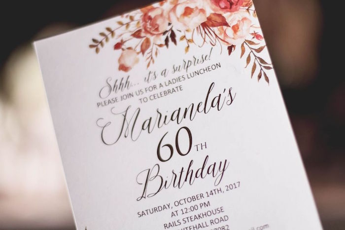 "Invitation from a ""60 Years Loved"" Birthday Dinner Party on Kara's Party Ideas 