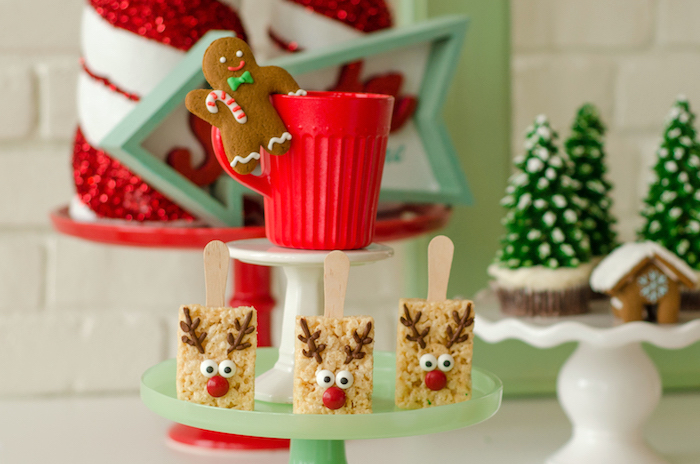 "Reindeer Rice Krispie Treats from a ""Cookies for Santa"" Christmas Party on Kara's Party Ideas 