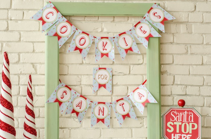 """Cookies for Santa Banner from a """"Cookies for Santa"""" Christmas Party on Kara's Party Ideas 