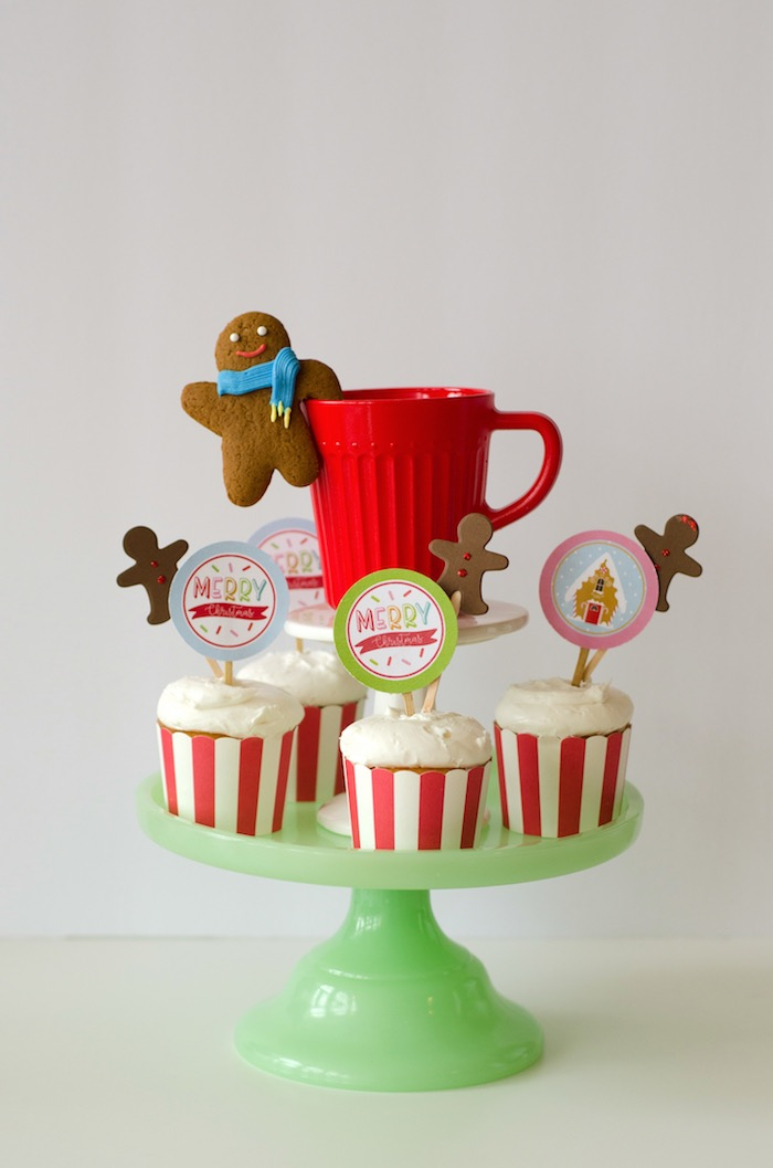 "Cupcakes from a ""Cookies for Santa"" Christmas Party on Kara's Party Ideas 