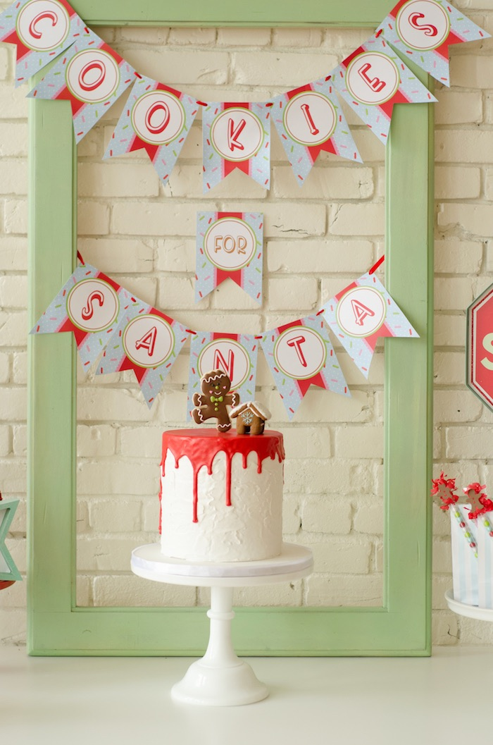 "Christmas drip cake from a ""Cookies for Santa"" Christmas Party on Kara's Party Ideas | KarasPartyIdeas.com (21)"