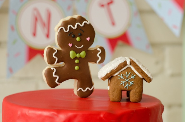"Gingerbread man cake topper from a ""Cookies for Santa"" Christmas Party on Kara's Party Ideas 