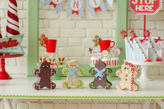 "Gingerbreadman boxes from a ""Cookies for Santa"" Christmas Party on Kara's Party Ideas 