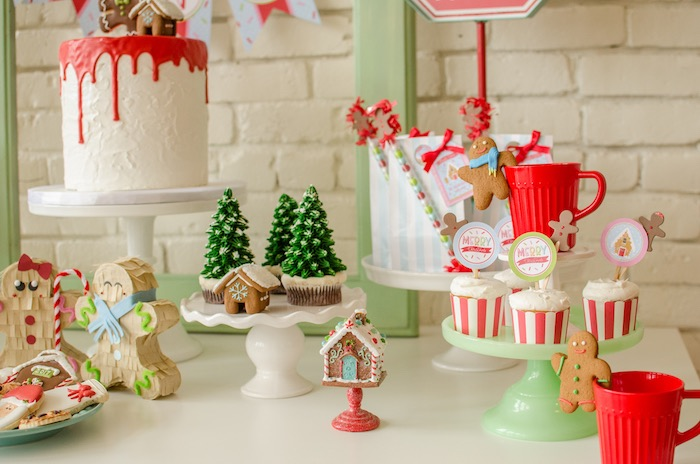 """Sweet table detail from a """"Cookies for Santa"""" Christmas Party on Kara's Party Ideas 