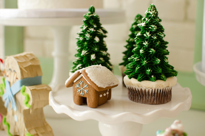 "Pine Tree Cupcakes & Mini Gingerbread House from a ""Cookies for Santa"" Christmas Party on Kara's Party Ideas 