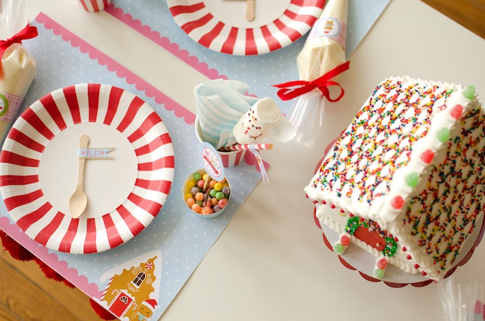 "Cookie decorating table setting from a ""Cookies for Santa"" Christmas Party on Kara's Party Ideas 