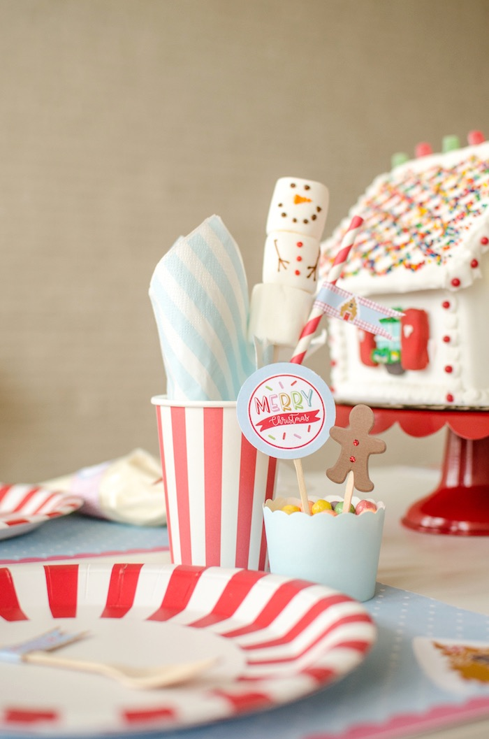 """Table setting from a """"Cookies for Santa"""" Christmas Party on Kara's Party Ideas 