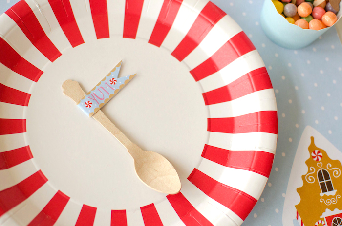 """Starlight Peppermint Plate from a """"Cookies for Santa"""" Christmas Party on Kara's Party Ideas 