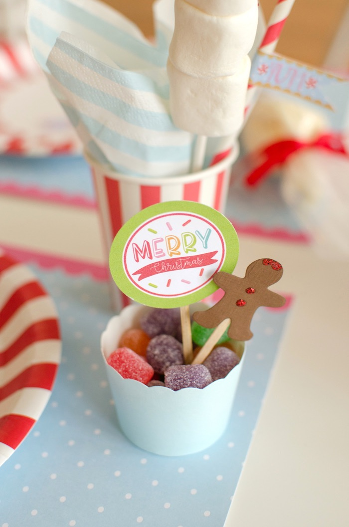 "Cup of gumdrops to decorate cookies from a ""Cookies for Santa"" Christmas Party on Kara's Party Ideas 