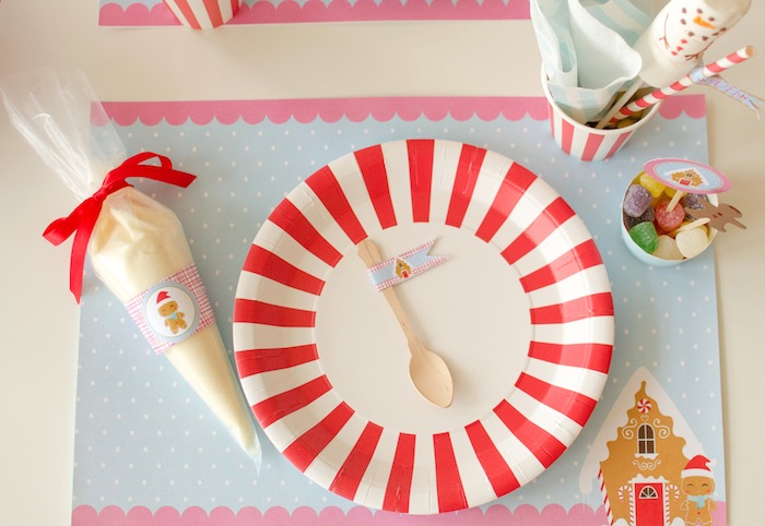 """Cookie decorating table setting from a """"Cookies for Santa"""" Christmas Party on Kara's Party Ideas 