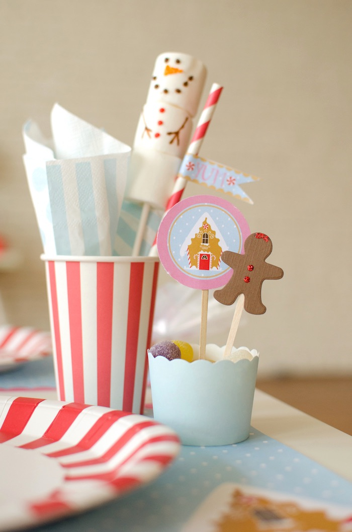 "Decorating cups from a ""Cookies for Santa"" Christmas Party on Kara's Party Ideas 