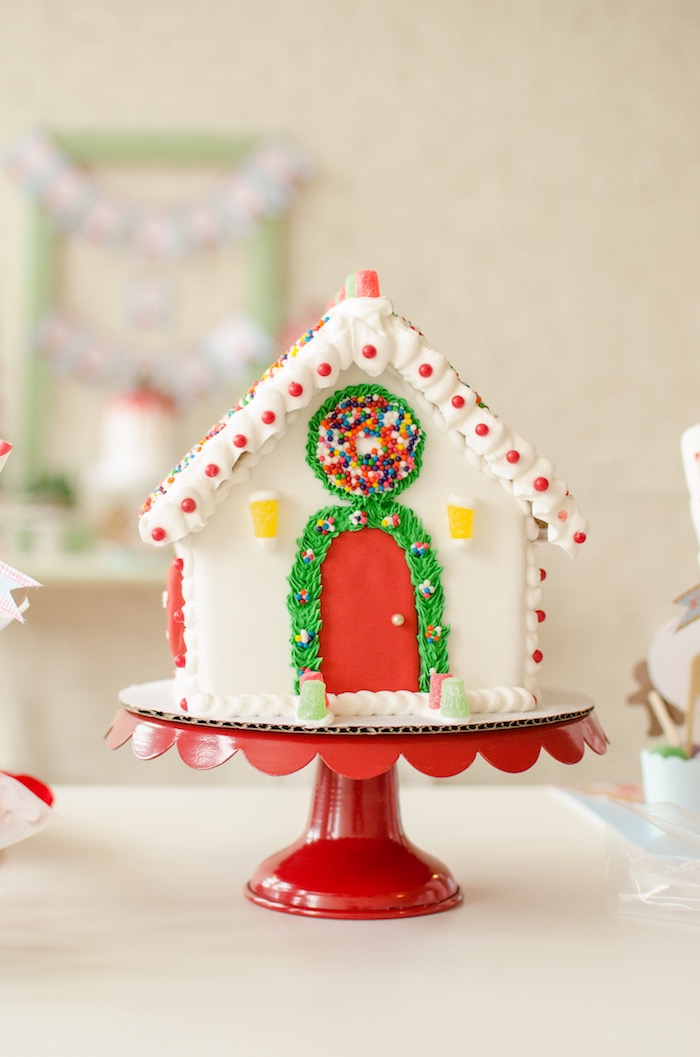 """Gingerbread house from a """"Cookies for Santa"""" Christmas Party on Kara's Party Ideas 