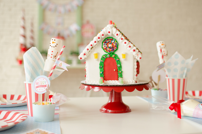 """Gingerbread house guest tablescape from a """"Cookies for Santa"""" Christmas Party on Kara's Party Ideas 