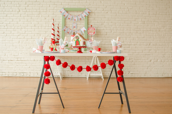"Cookie decorating table from a ""Cookies for Santa"" Christmas Party on Kara's Party Ideas 