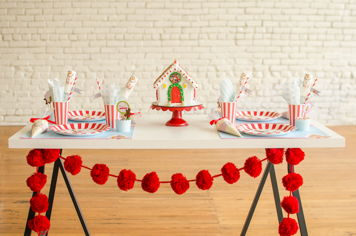 "Guest table + decorating table from a ""Cookies for Santa"" Christmas Party on Kara's Party Ideas 