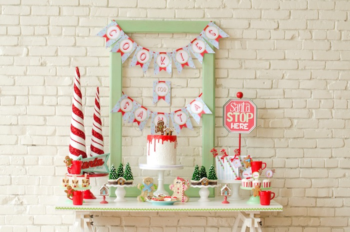 "Dessert table from a ""Cookies for Santa"" Christmas Party on Kara's Party Ideas 