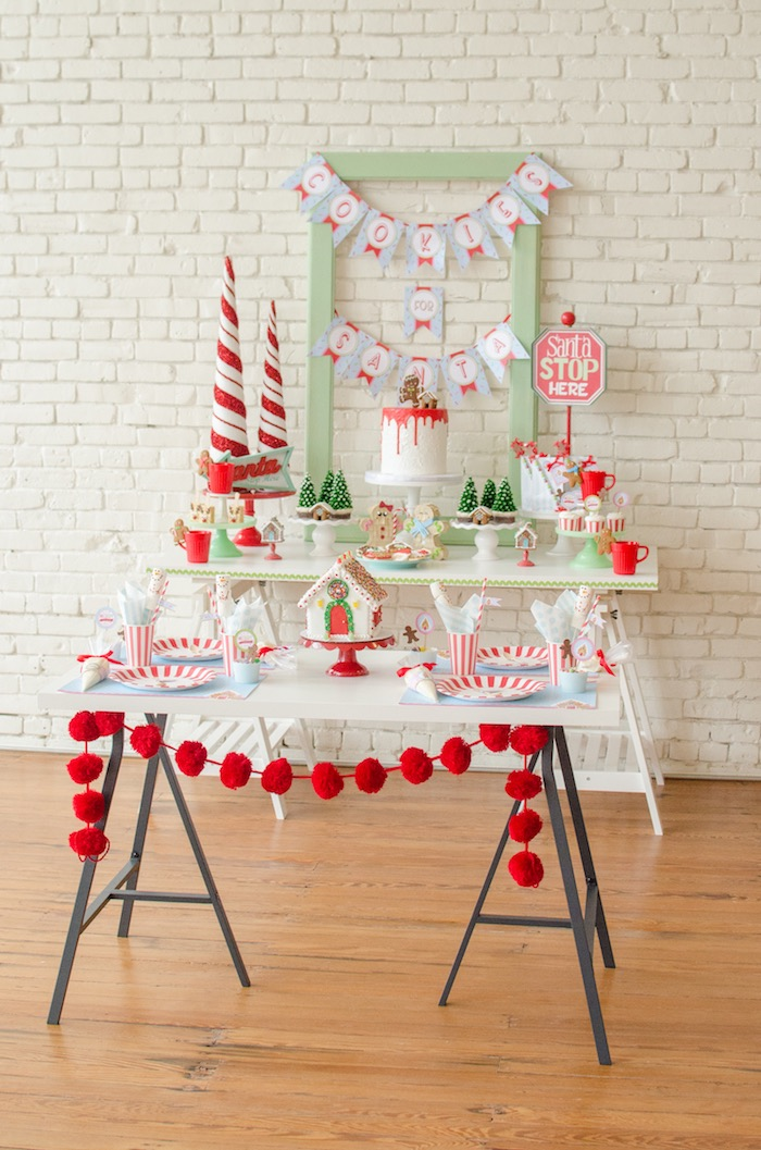 "Party tables from a ""Cookies for Santa"" Christmas Party on Kara's Party Ideas 