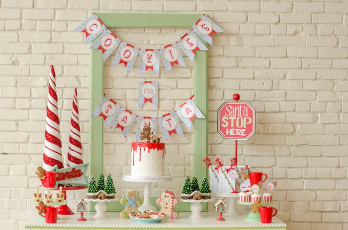 "Sweet table from a ""Cookies for Santa"" Christmas Party on Kara's Party Ideas 