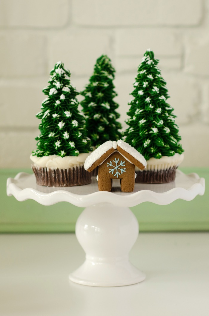 """Pine tree cupcakes from a """"Cookies for Santa"""" Christmas Party on Kara's Party Ideas 