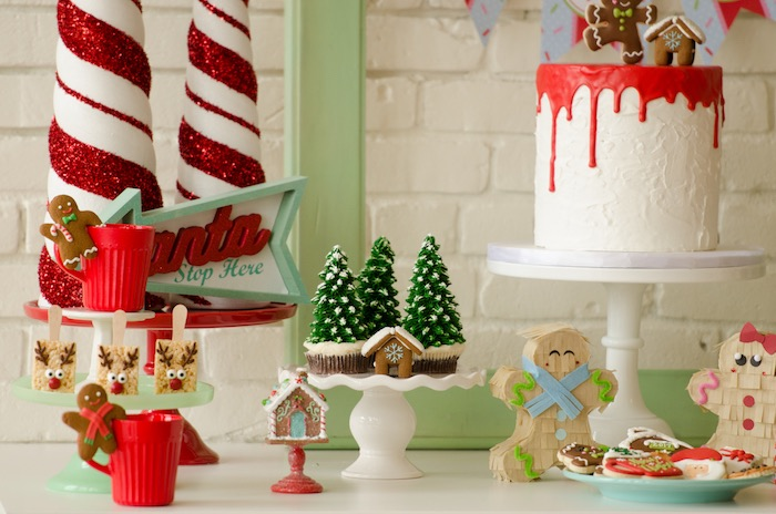 "Sweet table detail from a ""Cookies for Santa"" Christmas Party on Kara's Party Ideas 