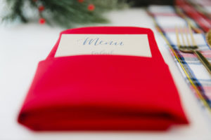 """Menu pocketed napkin from a """"Let it Snow"""" Christmas Party on Kara's Party Ideas 