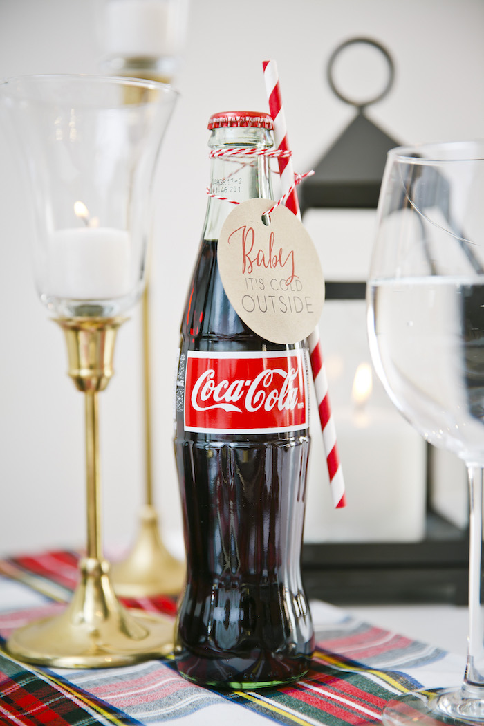 "Coke bottle with custom tag from a ""Let it Snow"" Christmas Party on Kara's Party Ideas 