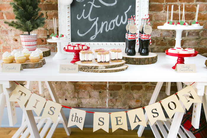 "Dessert table from a ""Let it Snow"" Christmas Party on Kara's Party Ideas 