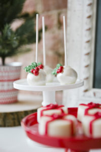 "Holly Berry Cake Pops from a ""Let it Snow"" Christmas Party on Kara's Party Ideas 