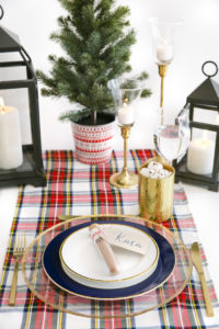 """Guest table + place setting from a """"Let it Snow"""" Christmas Party on Kara's Party Ideas 