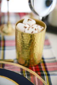 "Royal gold hot cocoa cup from a ""Let it Snow"" Christmas Party on Kara's Party Ideas 