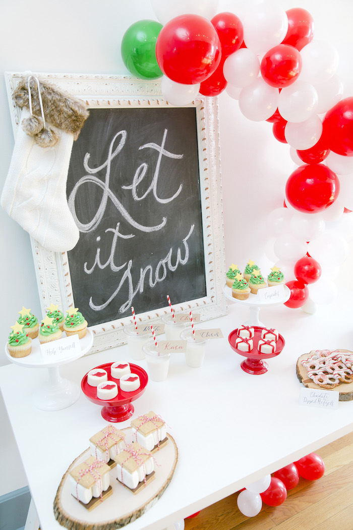 "Sweet table from a ""Let it Snow"" Christmas Party on Kara's Party Ideas 