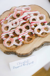 "Chocolate dipped pretzels from a ""Let it Snow"" Christmas Party on Kara's Party Ideas 