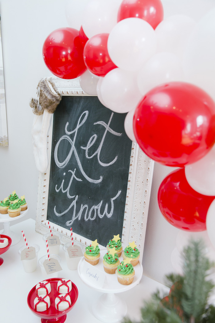 "Let it Snow chalkboard sign from a ""Let it Snow"" Christmas Party on Kara's Party Ideas 