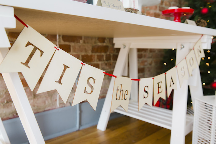 "Tis the Season banner from a ""Let it Snow"" Christmas Party on Kara's Party Ideas 