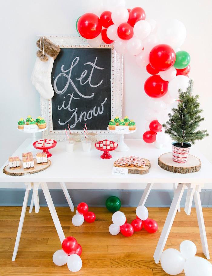 "Bouncy bubbly dessert table from a ""Let it Snow"" Christmas Party on Kara's Party Ideas 