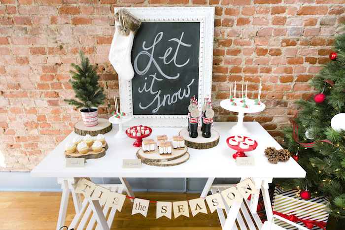 "Tis the Season dessert table from a ""Let it Snow"" Christmas Party on Kara's Party Ideas 