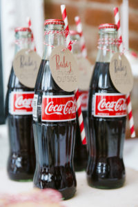 "Coke bottles with custom tags from a ""Let it Snow"" Christmas Party on Kara's Party Ideas 