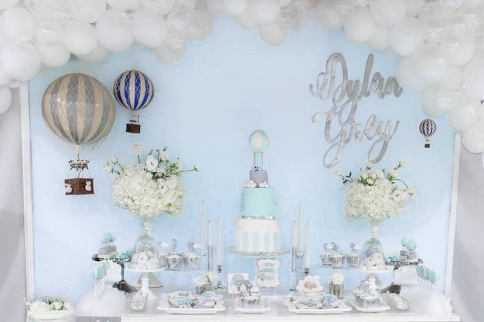 "Dessert table from a ""You are my Greatest Adventure"" Hot Air Balloon Baby Shower on Kara's Party Ideas 
