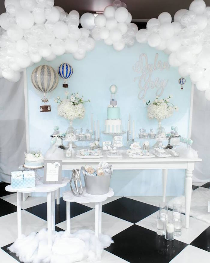 "Hot Air Balloon Dessert Table from a ""You are my Greatest Adventure"" Hot Air Balloon Baby Shower on Kara's Party Ideas 